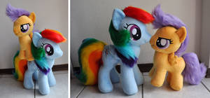 Rainbow Dash (9) and Scoots Plush by Sethaa