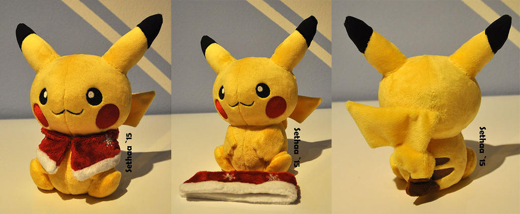 Christmas Pikachu Plush by Sethaa on DeviantArt