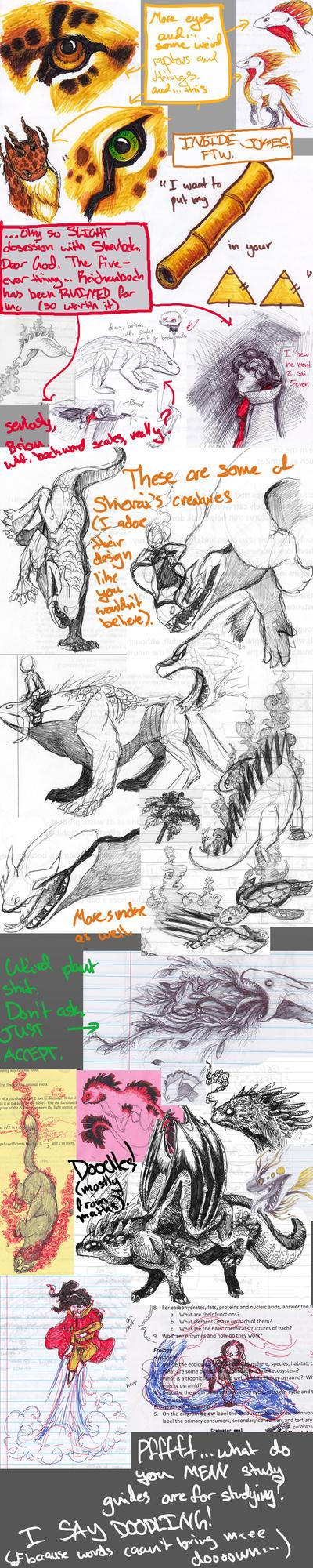Sketchdump-Doodles From Finals by steppingskyward