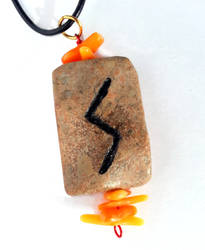 Sowulo Rune On Jasper with Coral
