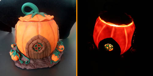 Pumpking house candleholder day and night