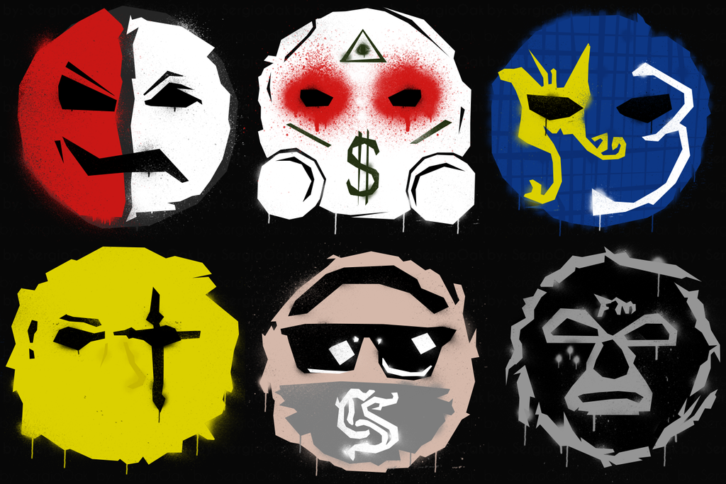 Hollywood Undead Masks Grafitti Style By Sergiooakbr