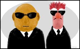 Old Oekaki - Muppets in Black by demonmako