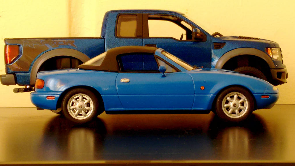 Mazda miata vs Ford F150 raptor 1/24 and 1/25 by And300ZX on DeviantArt