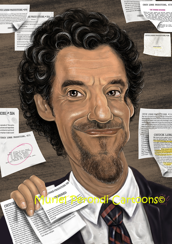 Chuck Lorre caricature by MURIELFREEMIND