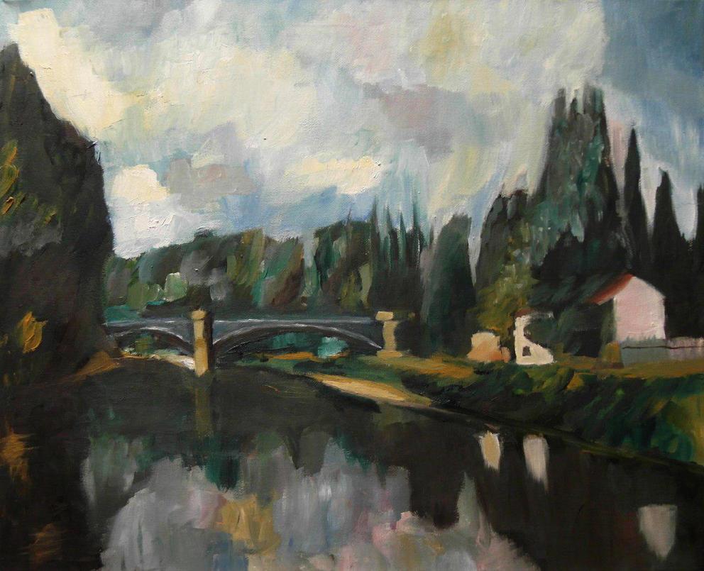 Paul Cezanne's Pont sur la Marne a Creteil by DarkDragonFantasy