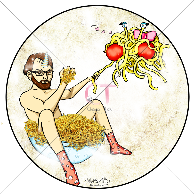 The DJ and the Flying Spaghetti Monster by ChessiaTrick