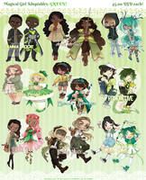 Magical Girl Adoptables - GREEN [SOLD] by Beedalee-Art