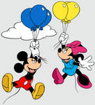 Mickey and Minnie Mouse Floating with Balloons