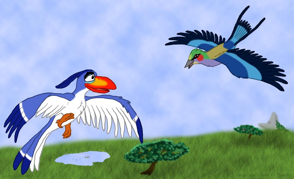 Zazu and Onani in Flight by Quachir