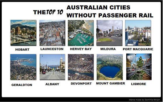 Top 10 Australian Cities without passenger cities