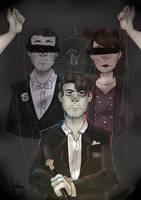 Darkiplier, Damien, Celine, And I by TeaRosePedall