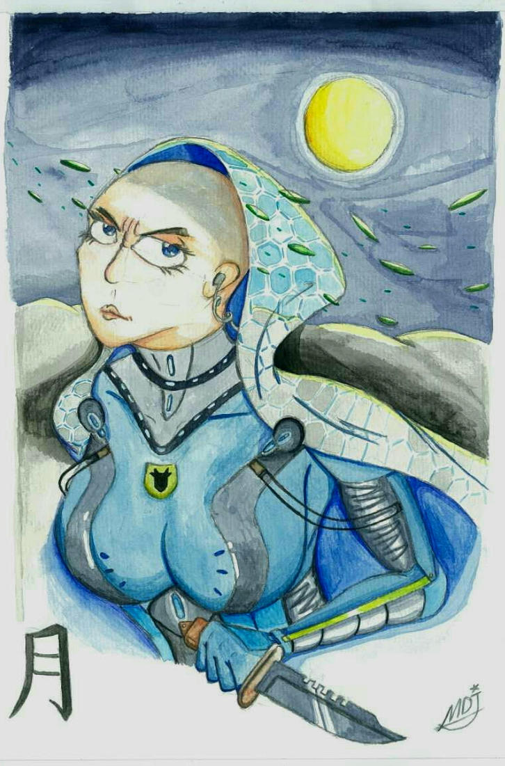 Character highlight: agent Yue (watercolor) by MidnightDJ-SK