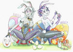 Easter bunny girl special: Nihla and Violet by MidnightDJ-SK