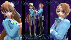 [MMD/Reverse Falls] Gleeful Mabel And Dipper by Amy-artist-killer