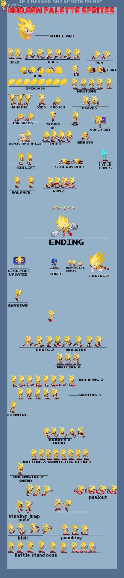 Super Sonic Sprite Sheet by ThomasandSonicYT
