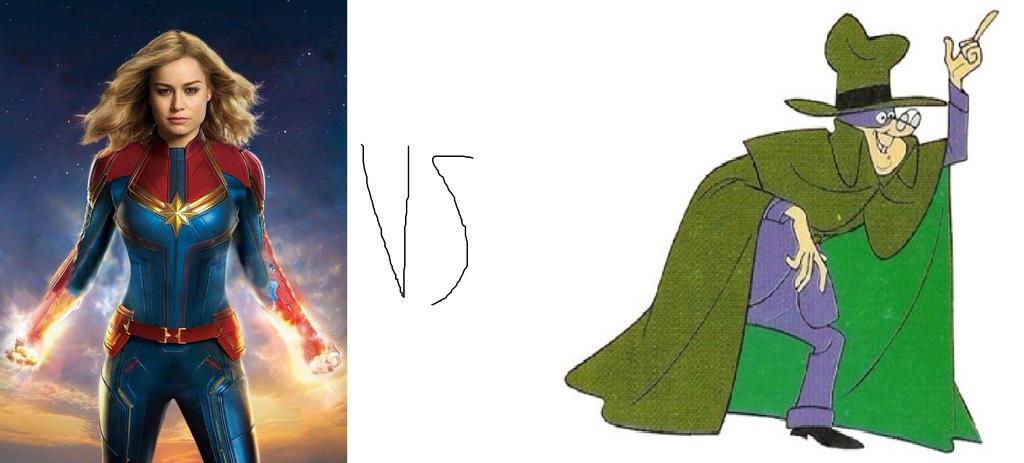 Captain Marvel (Marvel) vs Hooded Klaw by tron30