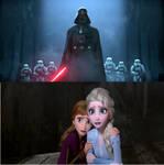 Darh Vader captures Anna and Elsa