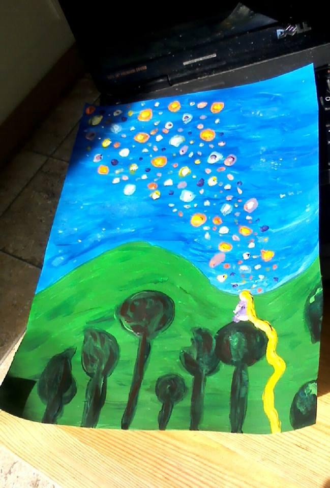 Tangled Floating Lanterns Painting By Diabolicalshinigami On Deviantart