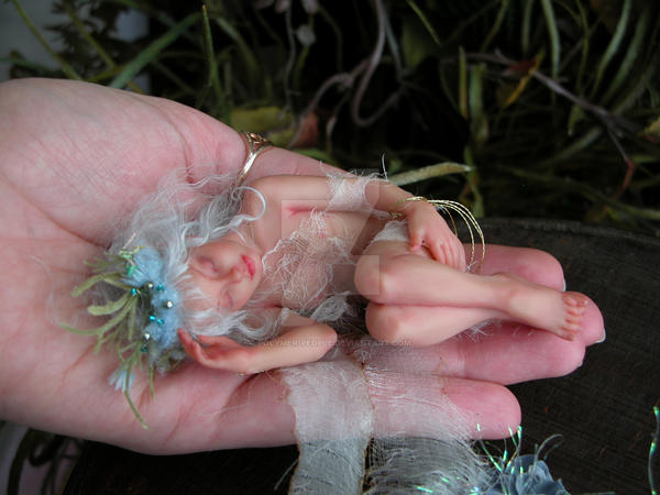 sleeping Faery on the hand by polymer-people
