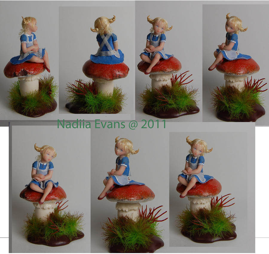 1 inch doll  Alise on mushroom by polymer-people