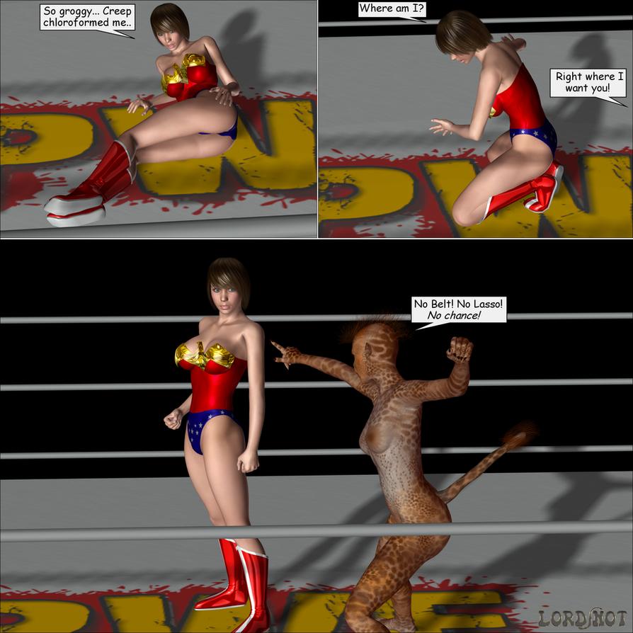 Wonder Woman Defeated Deviantart Wrestlemaniac by lordsnot