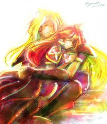 Gourry Lina hug by EugeneCh