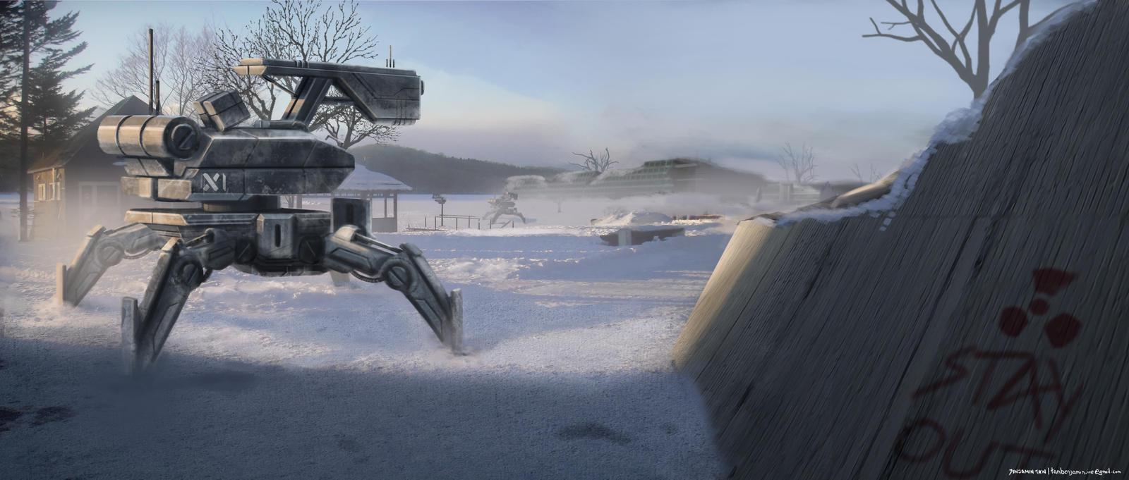 Snow Patrolling Mech by FrostKnight-IcE