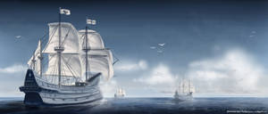 Galleons on the open sea by FrostKnight-IcE