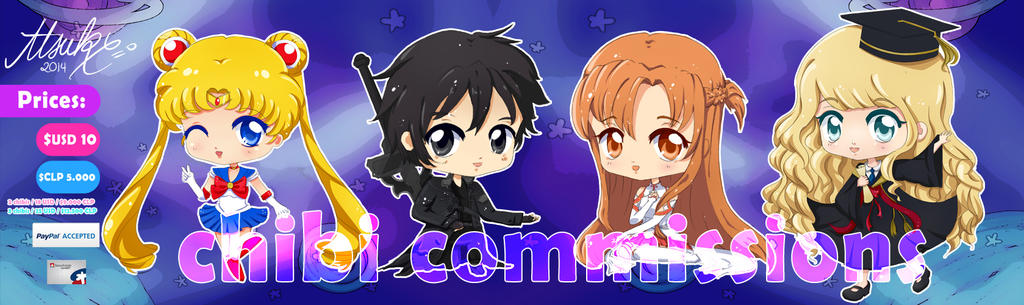 Anime Chibi detailed style Commissions examples by Atsuky
