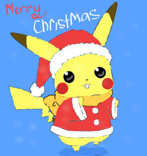 pikachumerry christmaswith background by sooyoungchua - Christmas Pikachu