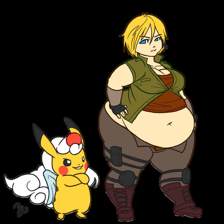 Commission - Mega Sized Samus and Mega Pikachu by MorningPanda