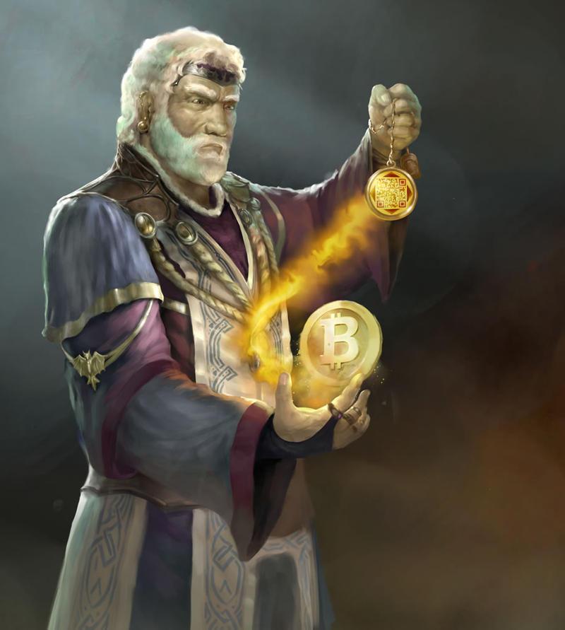illu bitcoinWizardDark by moonga