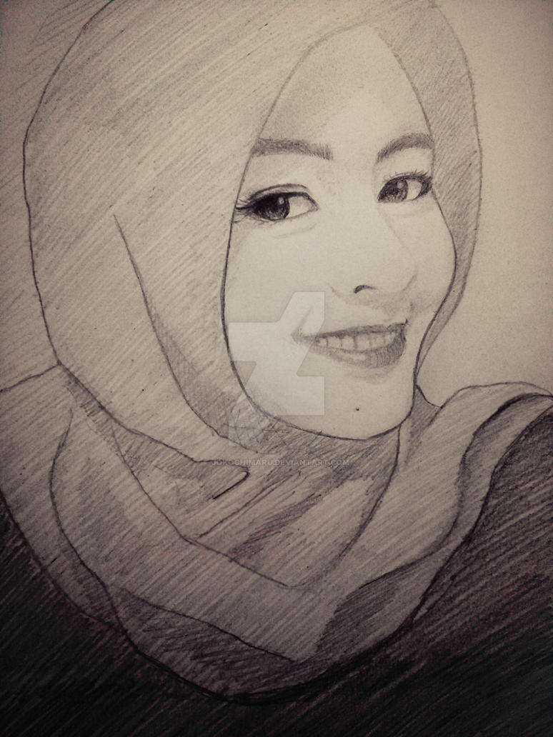 Muslim girl pencil hand drawing by jokochimaru