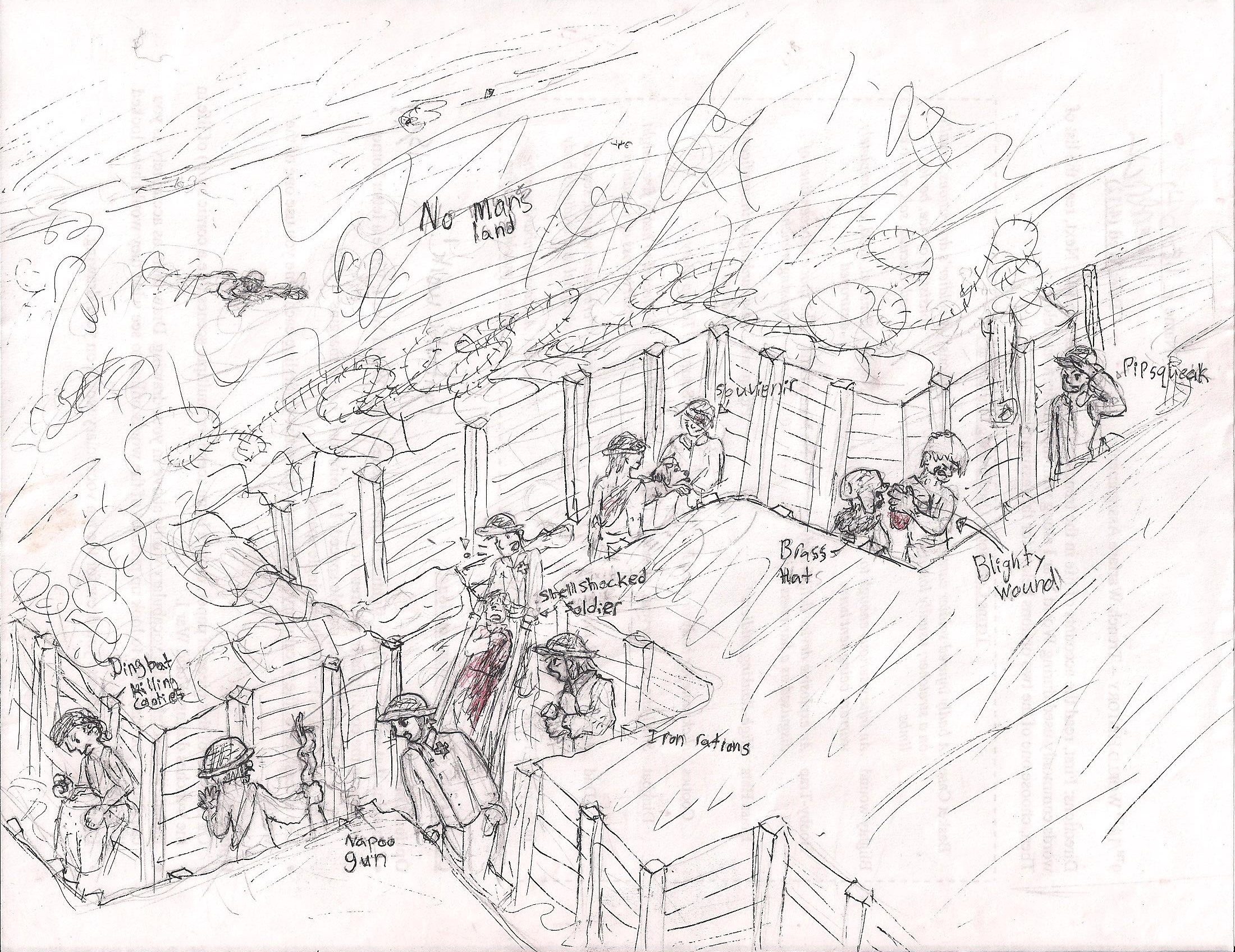 It is a picture of Tactueux Trench Warfare Drawing