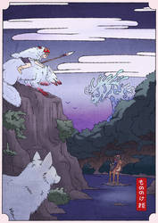 Princess Mononoke | Woodblock by blacksapphiredragon