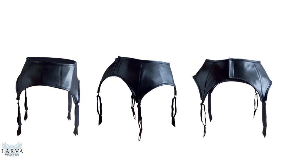 leather suspender belt back by larva by eisfluegel on
