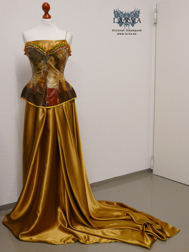 Gold antique dress with picture corset by Eisfluegel