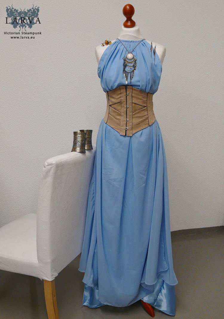 Blue antique dress with ribbon corset by Eisfluegel