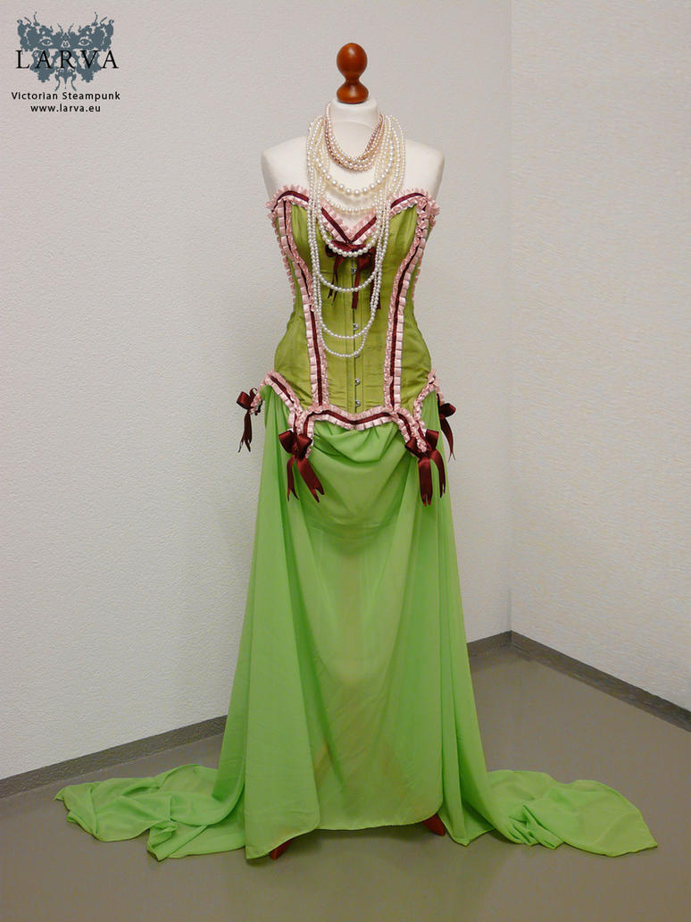 Green antique dress with candy corset by Eisfluegel