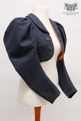 Navy Blue Loden Cloth Eton Jacket (Orange Lining)