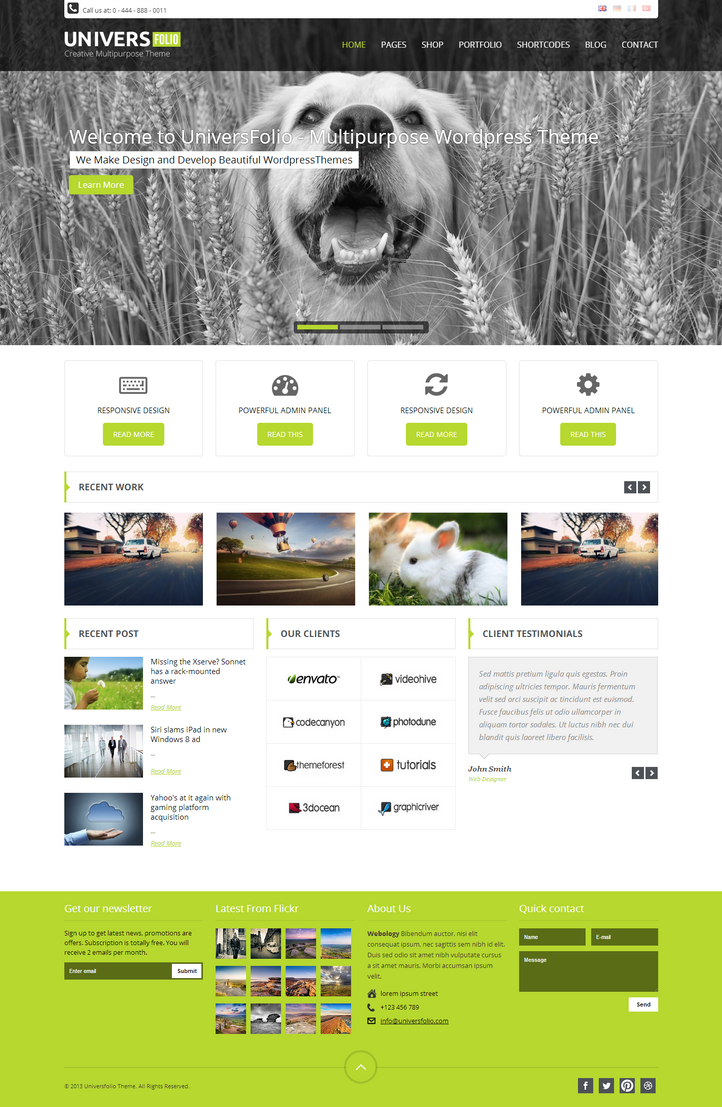 Universfolio - WordPress Theme by wpthemes