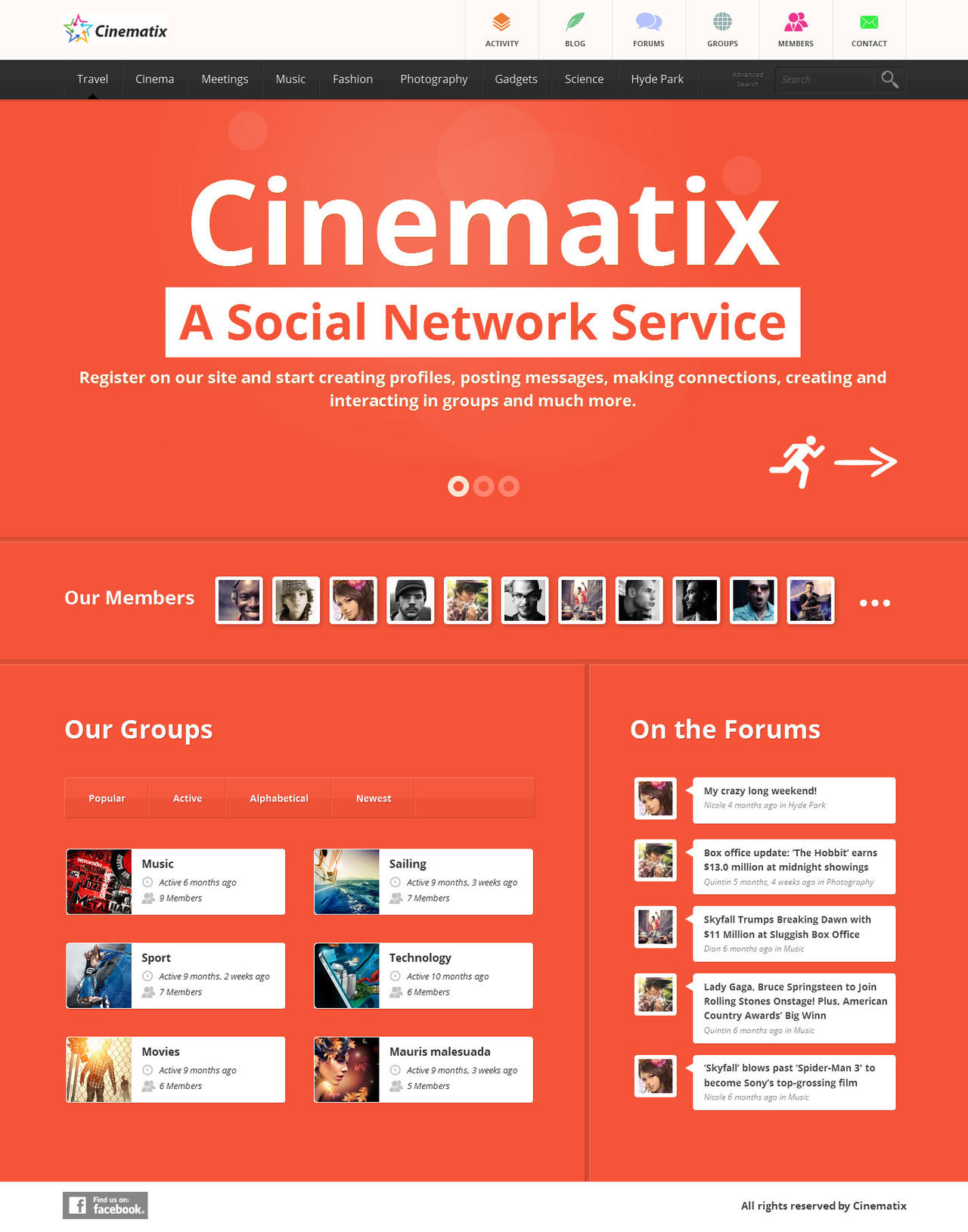 Cinematix social network template by wpthemes on deviantart for Social networking sites templates php