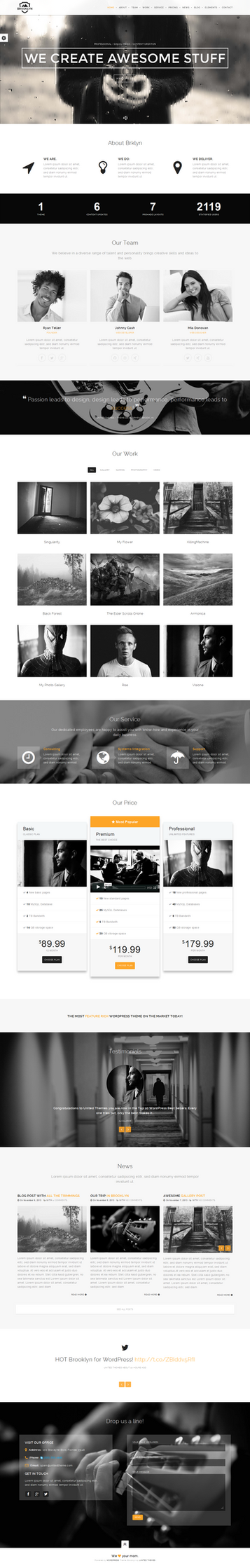 Brooklyn Onepage - with rainy effect by wpthemes