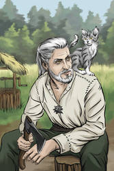 Geralt with kitten (Witcher) by Aquartic