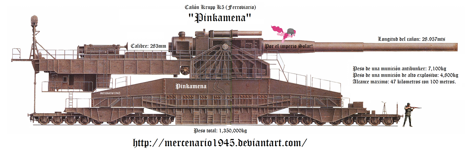 Pinkamena Canon Krupp K5 Super Duper Party Cannon by mercenario1945