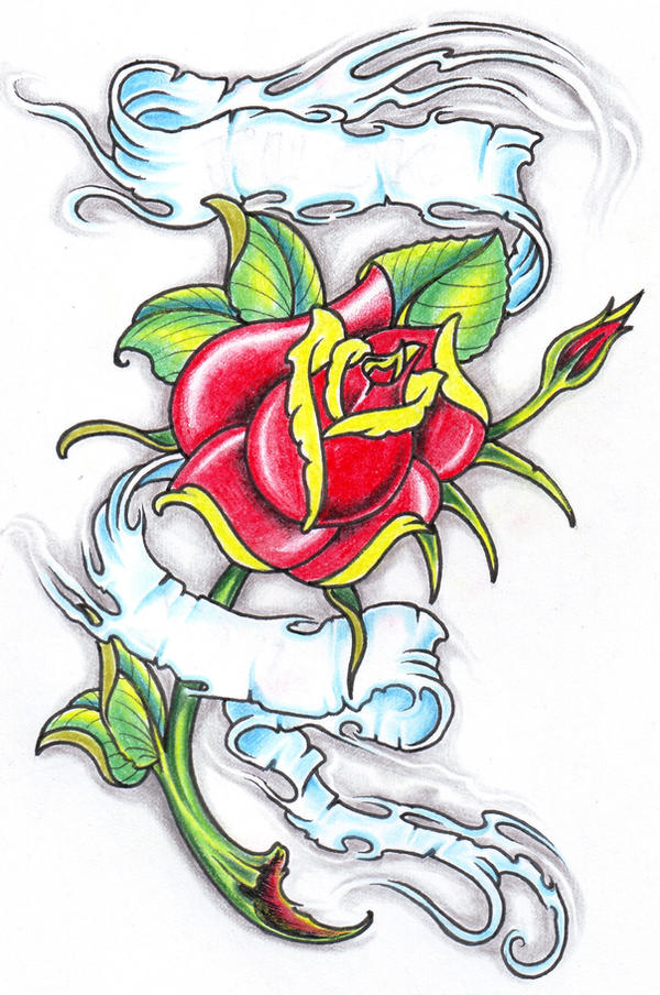 rose with banner by vikingtattoo on deviantart