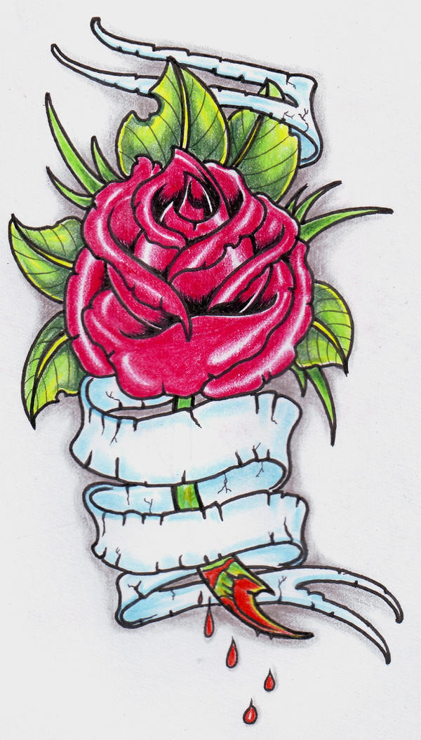 Rose With Banner Tattoos: Neo Trad Rose Tattoo 0207 By Vikingtattoo On DeviantArt