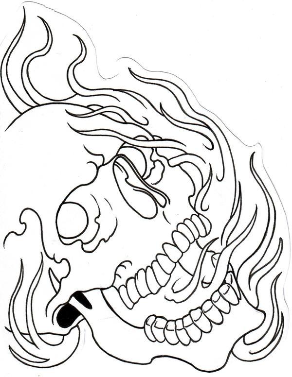 Skull Outline by vikingtattoo