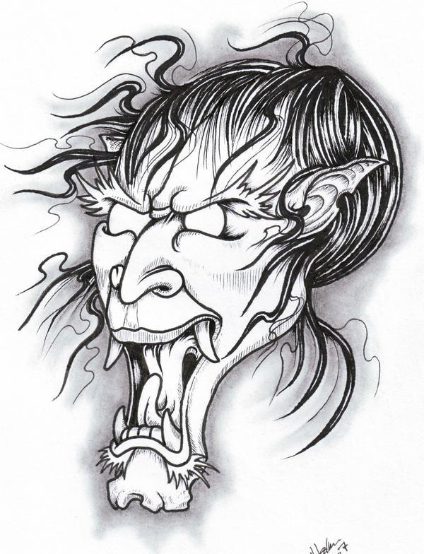 Japanese Style Demon by vikingtattoo